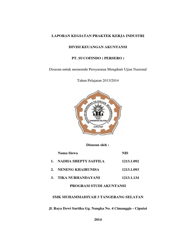 Laporan Praktek Kerja Industri Smk Muhammadiyah 3 Tangerang Selatan Bidang Keuangan Akuntansi
