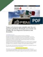 Pemex es la tercera más rentable entre las 100 mayores petroleras del mundo