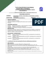 1.0 Programa Sintético Ingeniería Económica I