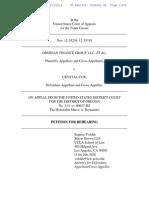 Eugene Volokh Motion to Rehear, Obsidian v. Cox