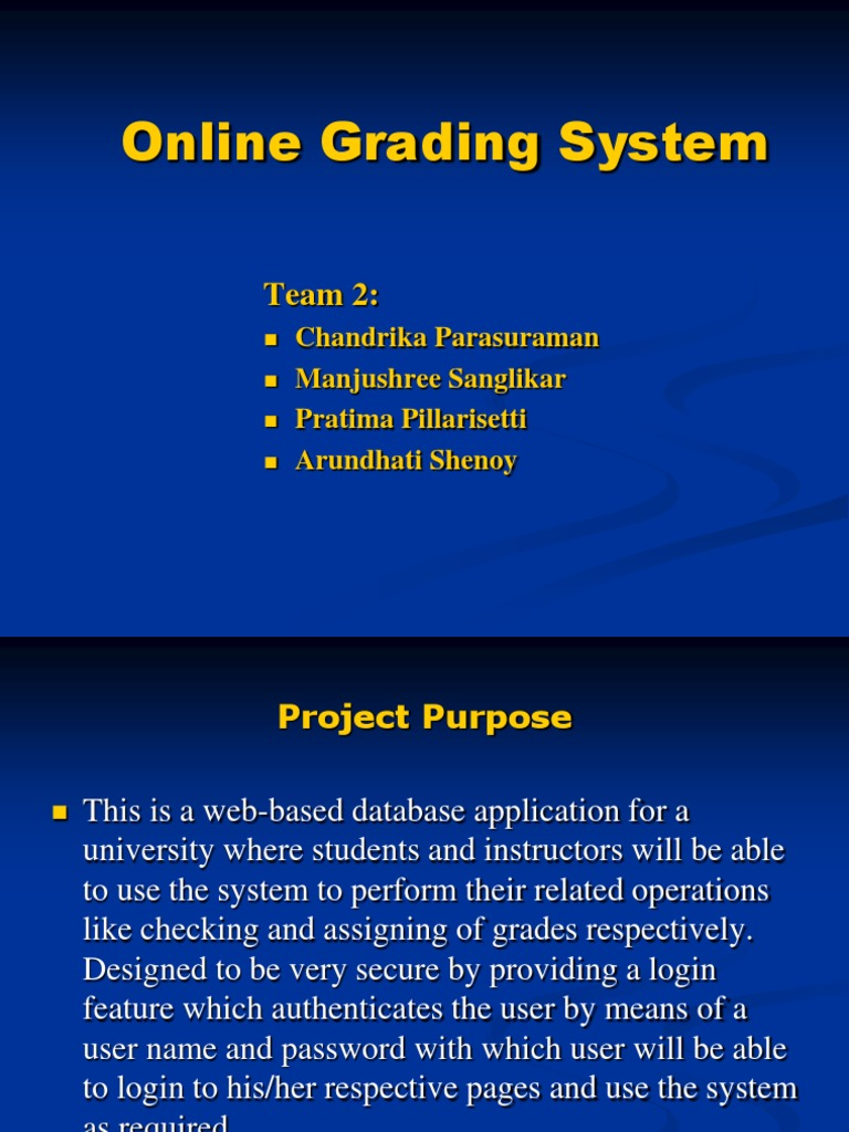 Online grading system thesis proposal