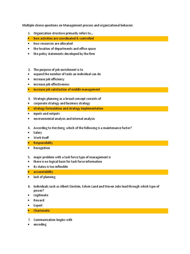 Management process and organizational behavior multiple