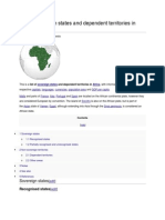 List of Sovereign States and Dependent Territories in Africa