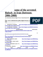 Balochistan Human Rights, List of the Arrested Baloch