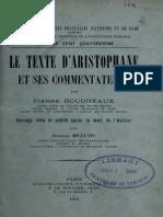 BOUDREAUX, Pierre - Le texte d'Aristophane et ses commentateurs, Paris, 1919 (rev. Méautis)