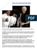 IMF chief lauds Philippines,It's the only nation in the World upgraded