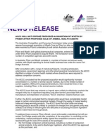 Accc Will Not Oppose Proposed Acquisition of Wyeth by Pfizer