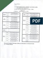 Orarul Sesiunii de Toamna 2013