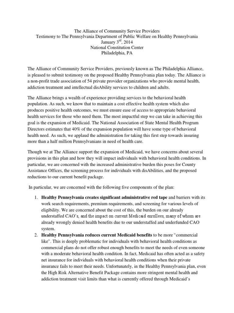 Philadelphia Alliance Healthy PA Testimony | Medicaid