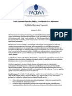 PACDAA Public Comment Regarding Healthy Pennsylvania 1115 Application