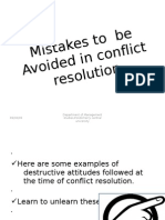 Mistakes to Be Avoided in Conflict Resolution