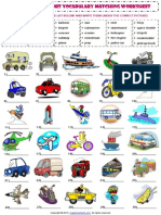 Means of Transport Vocabulary Matching Exercise Worksheet