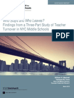Who Stays and Who Leaves? Findings from a Three-Part Study of Teacher Turnover in NYC Middle Schools (2013)