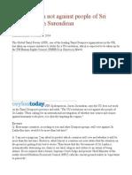 US resolution not against people of Sri Lanka– Suren Surendiran