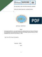 IMPLEMENTACIÓN DE LOS INSTRUMENTOS ADMINISTRATIVOS PARA OPTIMIZAR LA EFICIENCIA EN LA GESTIÓN DE LAS INSTITUCIONES EDUCATIVAS DEL NIVEL PRIMARIA DEL DISTRITO DE HUACHO – 2008