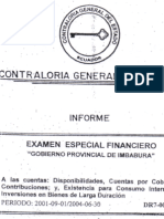 INFORME de CONTRALORIA, Prefectura de Gustavo Pareja 2001-2004
