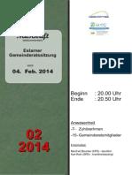 Eslarner Gemeinderatssitzungen - Mitschrift vom 04.02.2014