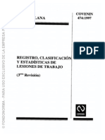 474-1997 Registro, Clasificacion y Estadisticas de Lesiones de Trabajo