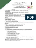Lista de Utiles Cuarto Basico 2014