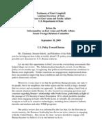 Testimony of Kurt Campbell Assistant Secretary of State Bureau Of