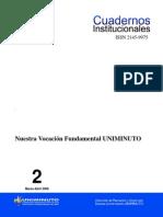 Cuadernos Institucionales - 02 Nuestra Vocación Fundamental UNIMINUTO (1)