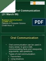 Comm 101 - Unit 3 Oral Communication (31 March 09)