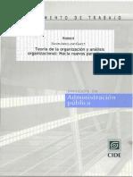 DAVID ARELLANO TEORÍA DE LA ORGANIZACIÓN Y ANÁLISIS ORGANIZACIONAL.