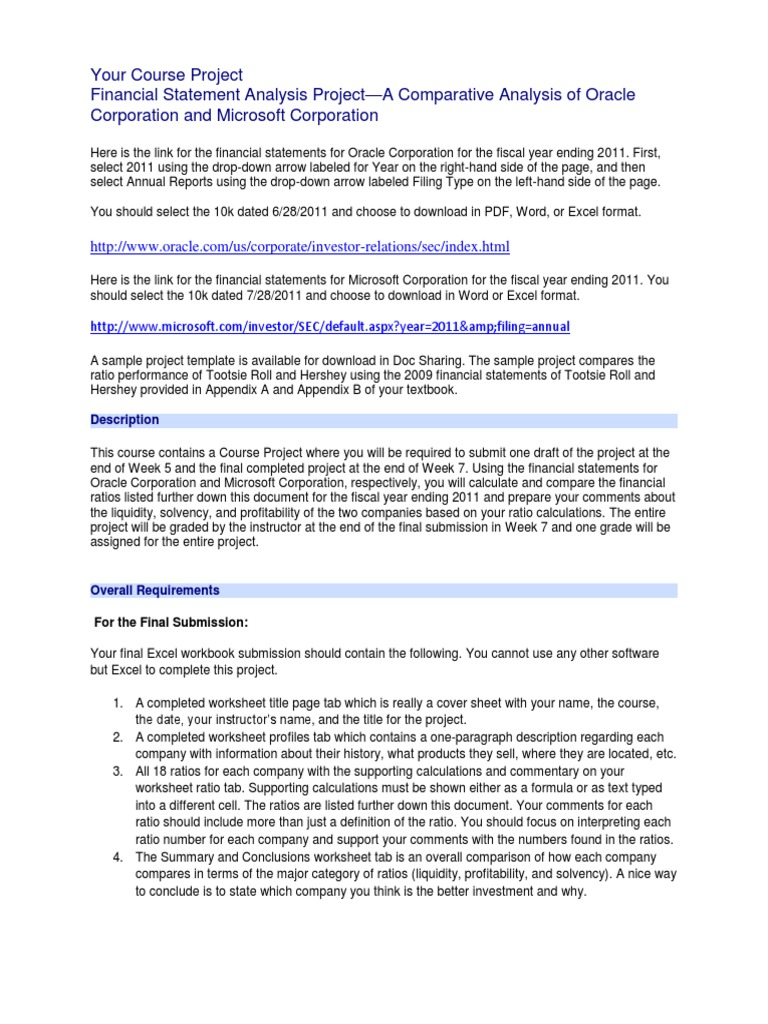 course project 1 assignment comparing oracle and microsoft