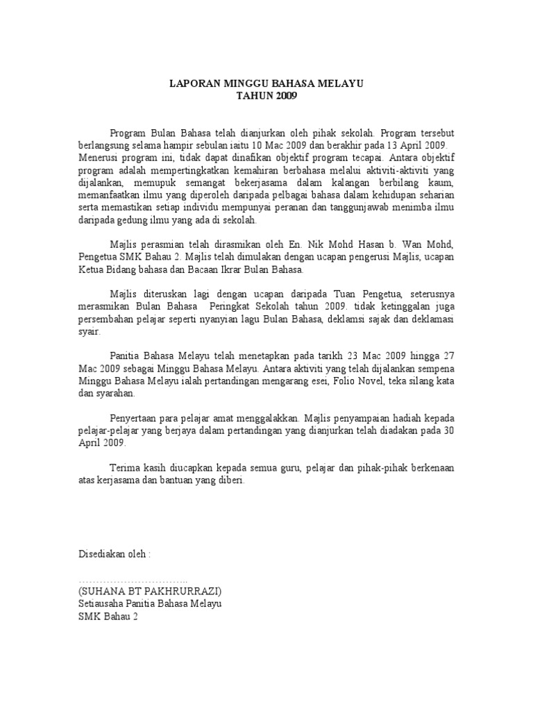 Laporan Minggu Bahasa Melayu