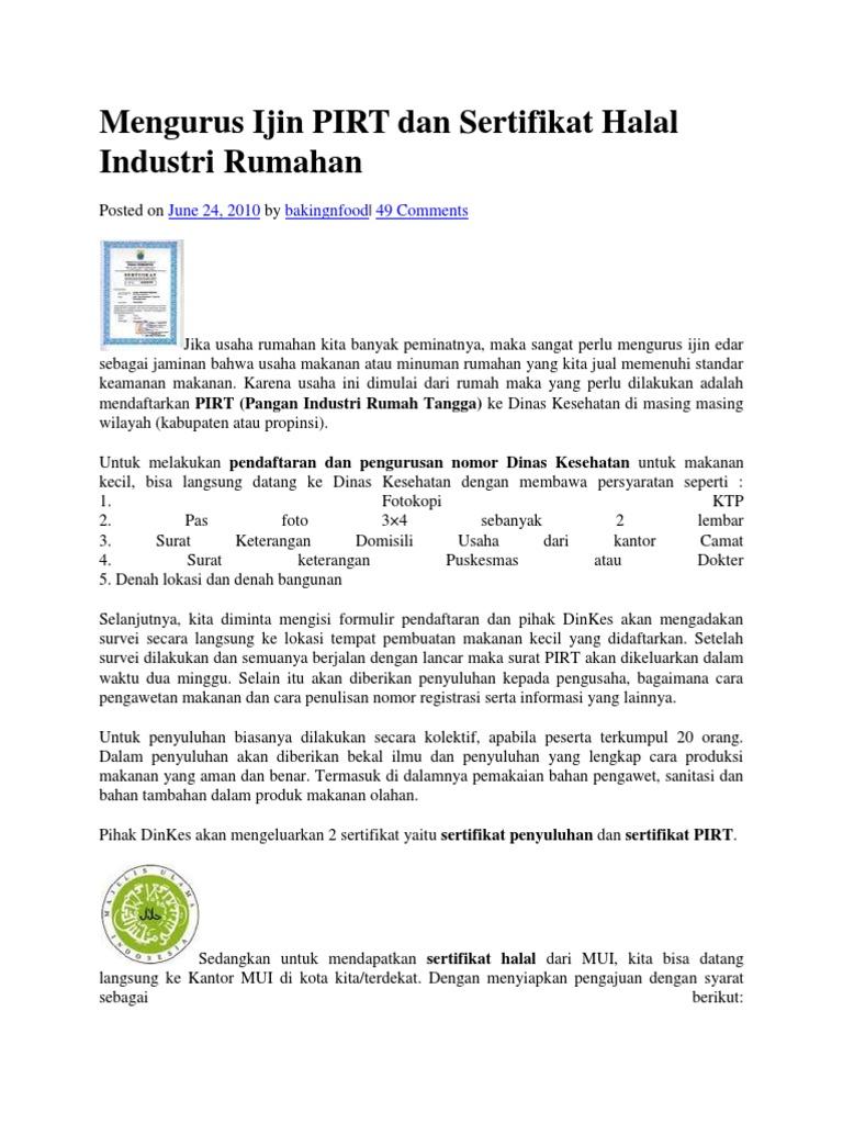 Sertifikat Halal Ijin Pirt