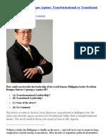Huffington Post Benigno Aquino, Transformational or Transitional Leadership