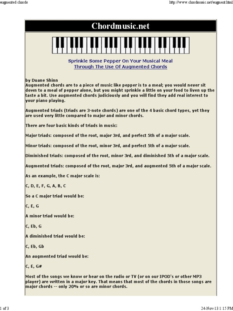 Augmented Chords Chord Music Harmony