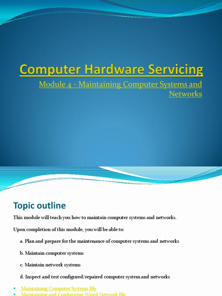 Maintenance of computer networks and systems - what is it