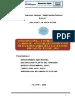 ATENCIÓN MENTAL Y SU RELACIÓN CON LA CALIDAD DEL APRENDIZAJE SIGNIFICATIVO DE LOS ESTUDIANTES DE LA FACULTAD DE EDUCACIÓN – UNJFSC – 2014