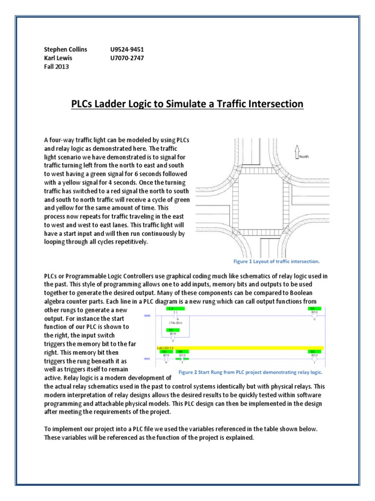 Final Project Eel 4657l Plc Traffic Intersection Programmable Programmingplc Ladder Diagram Simulationand Training Logic Controller Digital Electronics