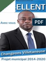 Projet Municipal 2014 de La Liste Changeons Villetaneuse - Dieunor EXCELLENT
