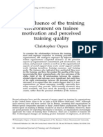 Influence of Training Environment on Trainee Motivation and Perceived Quality