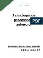 tehnologia de procesare a zaharului in industria alimentara