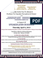 Boehner for Speaker Reception and Dinner for Boehner for Speaker