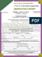 Reception for Ken Calvert