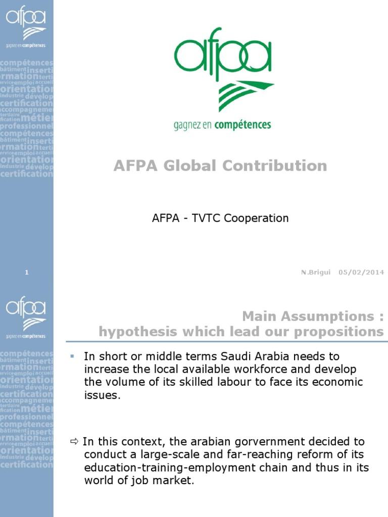 Afpa Tvtc Proposition Eng Labour Economics Employment