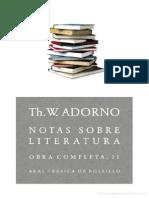 Adorno, Theodor - Notas Sobre Literatura - Akal