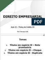 OAB - Empresarial - Aula 15 Títulos de Crédito III