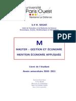 Livret Etudiant - Master Economie Appliquee 2010 2011_V3