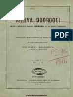 Arhiva Dobrogei Revista Societăţii pentru Cercetarea şi Studierea Dobrogei. Volumul 1, 1916