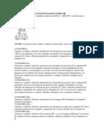 CLASIFICACIÓN DE LAS LICENCIAS DE CONDUCIR