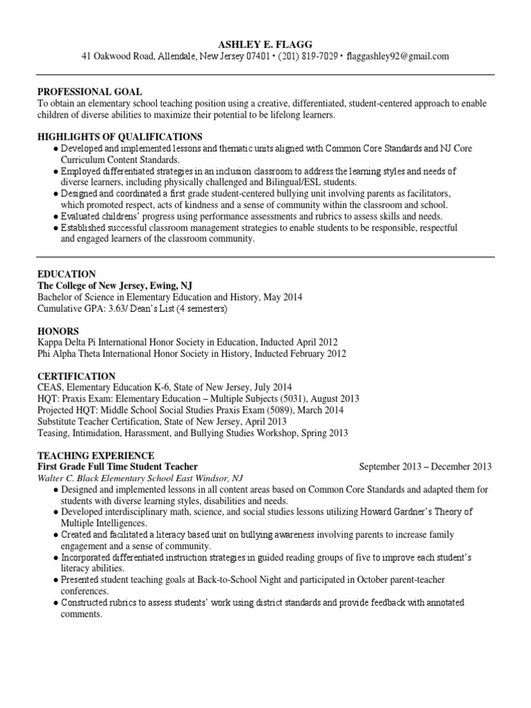 Ashley E Flagg Resume1 Differentiated Instruction English As A