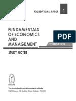 ICWAI Paper 1 Fundamentals of Economics and Management