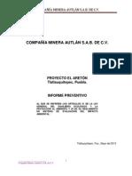 Proyecto El Areton de Compañia Minera Autlan para el Mpio de Tlatlauquitepec 21PU2013MD021