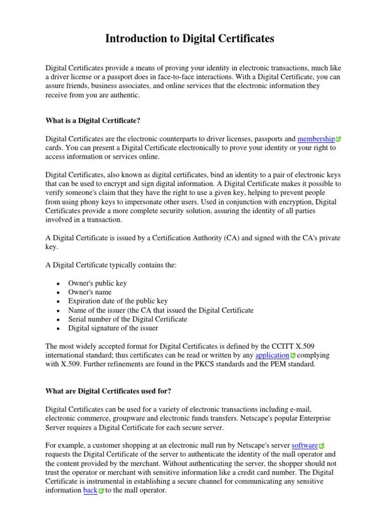 Certificate Intro Verisign Public Key Certificate Public Key